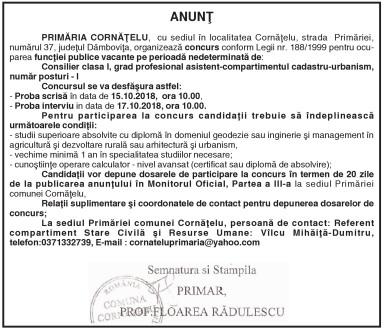 ANUNŢ PRIMĂRIA CORNĂŢELU, cu sediul în localitatea Cornăţelu, strada Primăriei, numărul 37, judeţul Dâmboviţa, organizează concurs conform Legii nr. 188/1999 pentru ocuparea funcţiei publice vacante pe perioadă nedeterminată