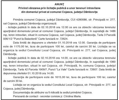 ANUNŢ Privind vânzarea prin licitaţie publică a unor terenuri intravilane din domeniul privat al comunei Cojasca, judeţul Dâmboviţa