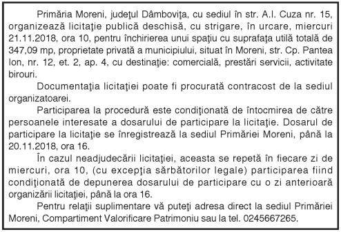 Primăria Moreni, judeţul Dâmboviţa