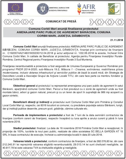 Comuna Corbii Mari anunţă finalizarea proiectului AMENAJARE PARC PUBLIC DE AGREMENT BĂRĂCENI, COMUNA CORBII MARI, JUDEŢUL DÂMBOVIŢA