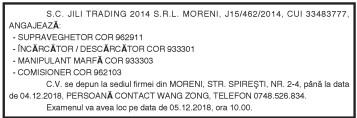 S.C. JILI TRADING 2014 S.R.L. MORENI, J15/462/2014, CUI 33483777, ANGAJEAZĂ: