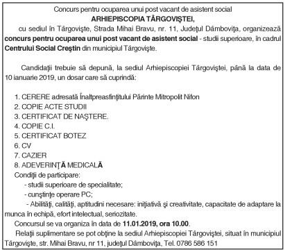 Concurs pentru ocuparea unui post vacant de asistent social ARHIEPISCOPIA TÂRGOVIŞTEI