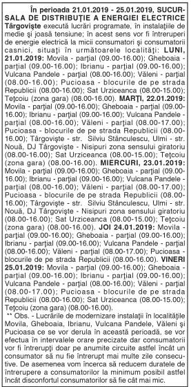 în perioada 21.01.2019 – 25.01.2019, SUCURSALA DE DISTRIBUŢIE A ENERGIEI ELECTRICE Târgovişte execută lucrări programate