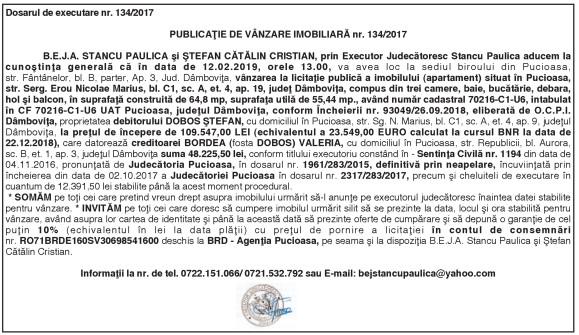 PUBLICAŢIE DE VÂNZARE IMOBILIARĂ nr. 134/2017