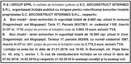 R & I GROUP SPRL în calitate de lichidator judiciar al S.C. ARCONSTRUCT INTERMED