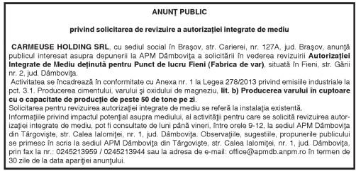 ANUNŢ PUBLIC privind solicitarea de revizuire a autorizaţiei integrate de mediu