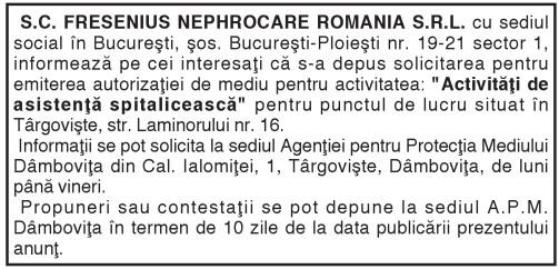 S.C. FRESENIUS NEPHROCARE ROMANIA S.R.L.