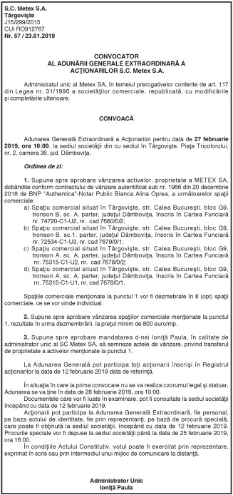 CONVOCATOR AL ADUNĂRII GENERALE EXTRAORDINARĂ A ACŢIONARILOR S.C. Metex S.A.