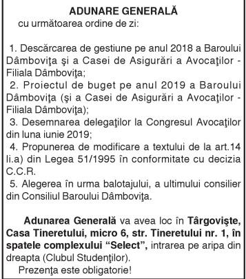 ANUNŢ Consiliul Baroului Dâmboviţa convoacă în data de 16.03.2019 orele 9.30