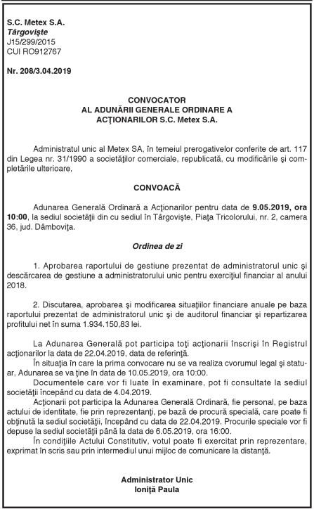 CONVOCATOR AL ADUNĂRII GENERALE ORDINARE A ACŢIONARILOR S.C. Metex S.A.