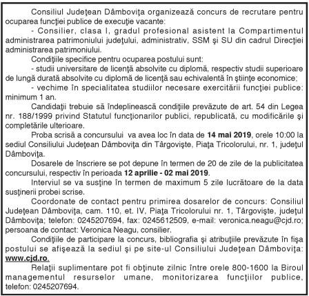 Consiliul Judeţean Dâmboviţa organizează concurs de recrutare pentru ocuparea funcţiei publice de execuţie vacante: