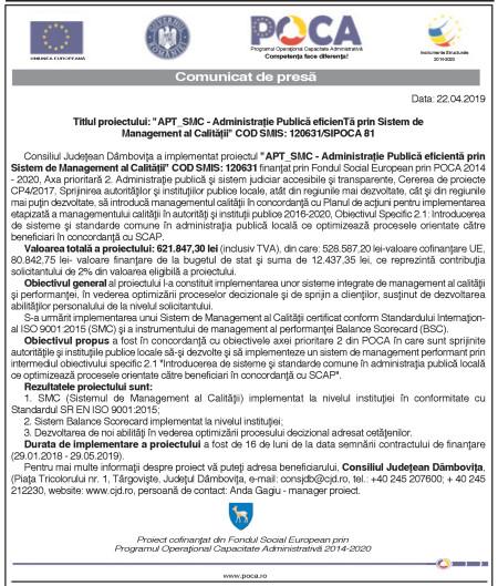 """Titlul proiectului: """"APT_SMC – Administraţie Publică eficientă prin Sistem de Management al Calităţii"""" COD SMIS: 120631/SIPOCA 81"""