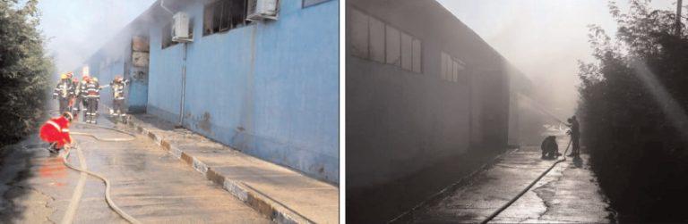 Incendiu la un depozit de substanţe chimice din Butimanu