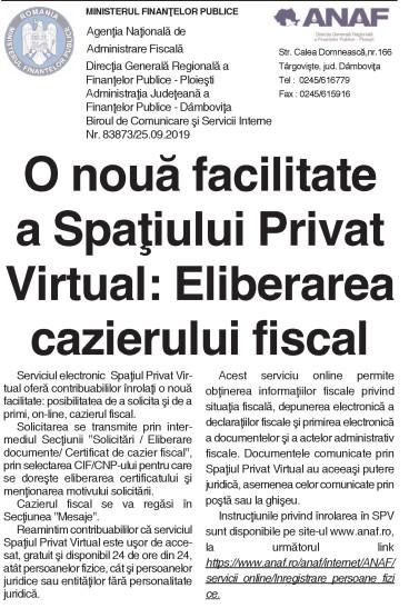 O nouă facilitate a Spaţiului Privat Virtual: Eliberarea cazierului fiscal