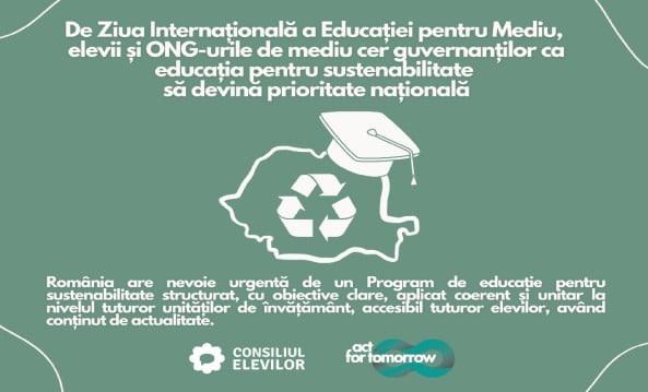 De Ziua Internaţională a Educaţiei pentru Mediu, elevii şi ONG-urile de mediu cer guvernanţilor ca educaţia pentru sustenabilitate să devină prioritate naţională