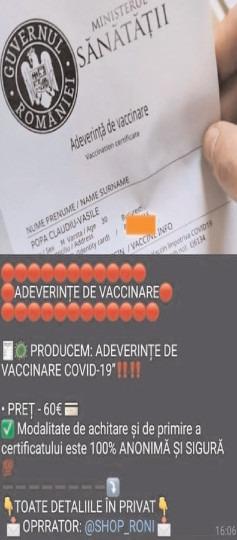 """CERT-RO: În mediul online circulă """"o ofertă"""" pentru falsificarea adeverinţei de vaccinare"""