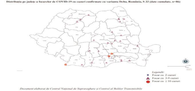 Harta cazurilor COVID-19, confirmate cu varianta Delta