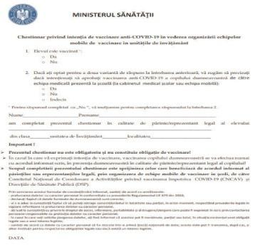 Ministerul Sănătății a validat chestionarul de exprimare a intenției de vaccinare în rândul elevilor minori