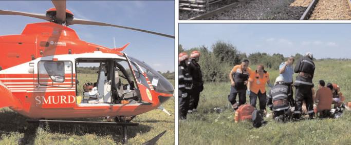 Elicopterul SMURD a intervenit după ce un utilaj CFR a deraiat între staţiile Titu- Boteni