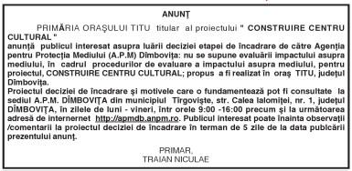 """ANUNŢ PRIMĂRIA ORAŞULUI TITU titular al proiectului """" CONSTRUIRE CENTRU CULTURAL"""""""