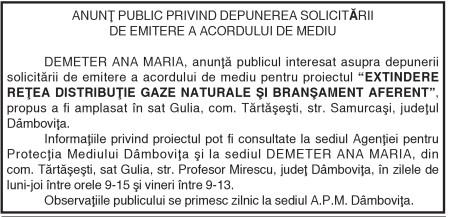 ANUNŢ PUBLlC PRlVlND DEPUNEREA SOLlClTĂRll DE EMlTERE A ACORDULUl DE MEDlU