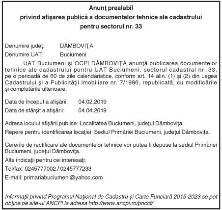 Anunţ prealabil privind afişarea publică a documentelor tehnice ale cadastrului pentru sectorul nr. 33