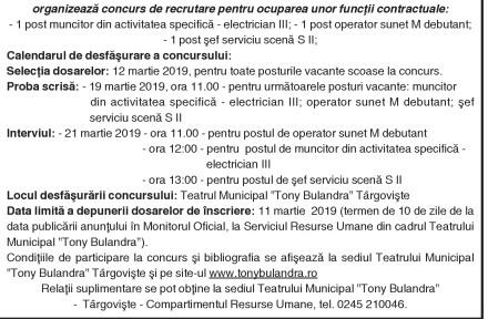 """Anunţ concurs Teatrul Municipal """"Tony Bulandra"""" Târgovişte"""