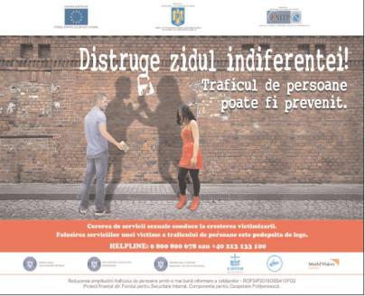 """""""Distruge Zidul Indiferenţei!"""", campanie de prevenire a exploatării sexuale"""