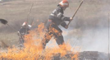 Incendiile de vegetaţie dau de muncă pompierilor dâmboviţeni