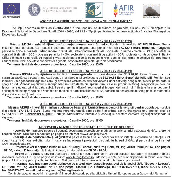 """ASOCIAŢIA GRUPUL DE ACŢIUNE LOCALĂ """"BUCEGI – LEAOTA"""""""