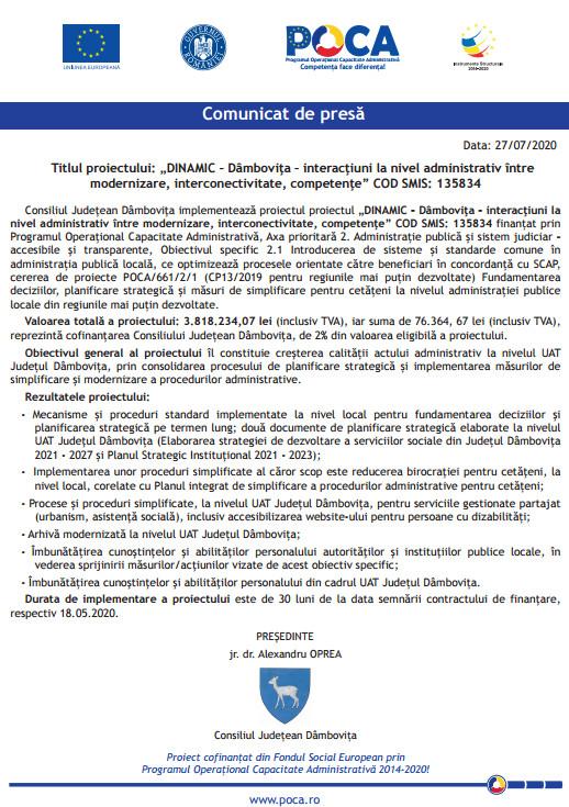 """COMUNICAT DE PRESĂ PRIVIND CONTRACTAREA  PROIECTULUI: """"DINAMIC – DÂMBOVIŢA – INTERACŢIUNI LA NIVEL ADMINISTRATIV ÎNTRE MODERNIZARE, INTERCONECTIVITATE, COMPETENŢE"""" COD SMIS: 135834"""