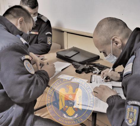 Arme neletale, de tip airsoft descoperite de jandarmi asupra a doi tineri
