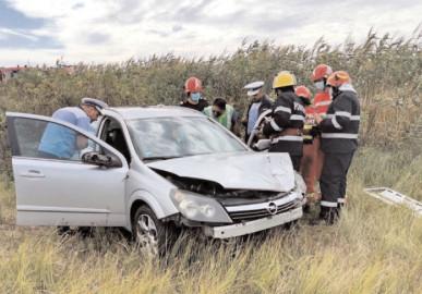 Asigurare de zonă la un accident rutier produs pe autostrada A1, la km. 76