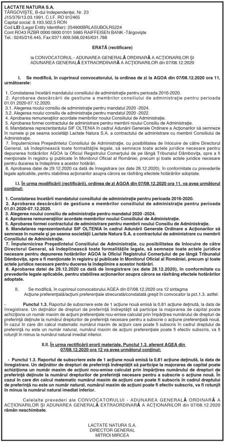 ERATĂ (rectificare) la CONVOCATORUL – ADUNAREA GENERALĂ ORDINARĂ A ACŢIONARILOR ŞI ADUNAREA GENERALĂ EXTRAORDINARĂ A ACŢIONARILOR din 07/08.12.2020