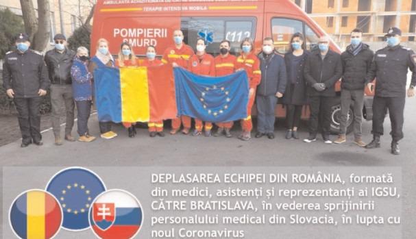 DEPLASAREA ECHIPEI DIN ROMÂNIA, formată din medici, asistenţi şi reprezentanţi ai IGSU, CĂTRE BRATISLAVA, în vederea sprijinirii personalului medical din Slovacia, în lupta cu noul Coronavirus