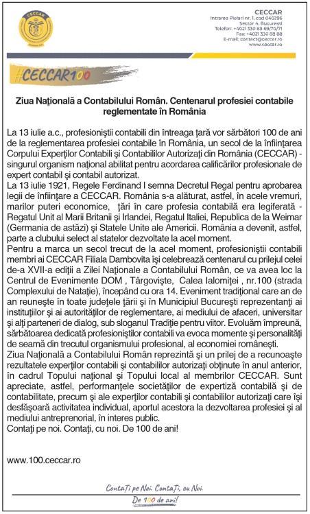 Ziua Naţională a Contabilului Român. Centenarul profesiei contabile reglementate în România