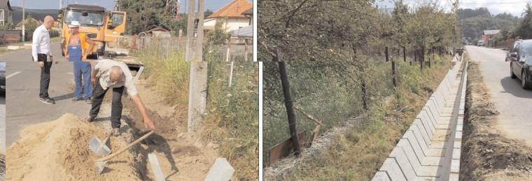 Proiectul pilot – Amenajare șanțuri dalate și rigole, inițiat de CJ Dâmbovița, se implementează în comuna Tătărani