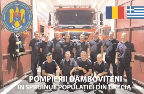 """De la Inspectoratul pentru Situații de Urgență """"Basarab I"""" al județului Dâmbovița 12 pompieri, mobilizați să acționeze la incendiile din Grecia"""