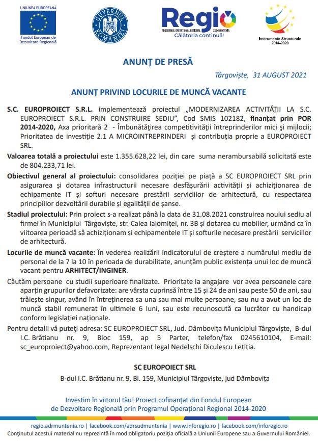 """ANUNȚ DE PRESĂ PRIVIND LOCURILE DE MUNCA VACANTE (""""MODERNIZAREA ACTIVITĂȚII LA S.C. EUROPROIECT S.R.L. PRIN CONSTRUIRE SEDIU"""", Cod SMIS 102182, finanțat prin POR 2014-2020)"""