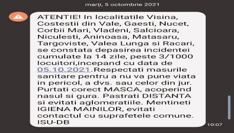 Mesaj RO-ALERT privind răspândirea COVID-19 în Dâmbovița!
